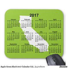 Apple Green Black 2017 Calendar California Mouse Pad