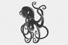 Black danger cartoon octopus characters with curling tentacles swimming underwater, isolated on white. Tattoo or pattern on a t-shirt, poster or logo, vector illustration. 100% vector, EPS