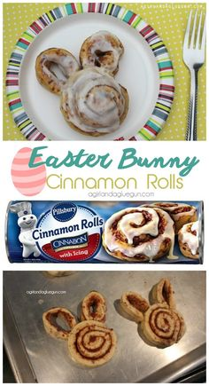 easy easter bunny cinnamon rolls made from store bought rolls. perfect for Easter morning breakfast or brunch dinner rolls Easter bunny cinnamon rolls! - A girl and a glue gun Easter Brunch Menu, Easter Dinner, Easter Table, Brunch Food, Easter Party, Brunch Recipes, Recipes Dinner, Brunch Buffet, Easter Gift