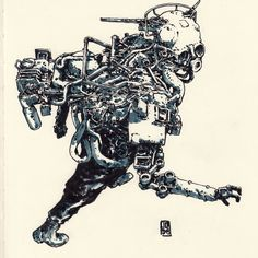 Radar man  #mech #illustration #scifi #ink #draw #art #落書き #スケッチ #janburagay…