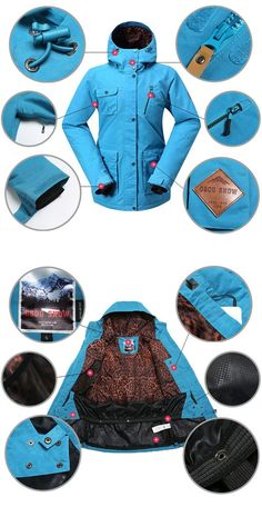 Cheap Gsou Snow Thermal Warm Waterproof Windproof Blue Women's Ski Jackets Online