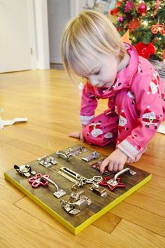 Make a latch board for kids- great for fine motor (Boredom Buster)