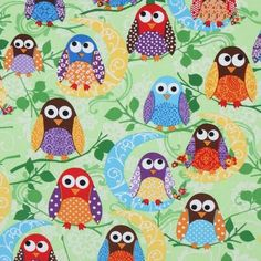 Amazon.com: cute green owls fabric What a Hoot USA designer (per 0.5m multiple)