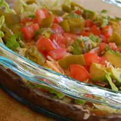 Manda's Seven Layer Taco Dip on http://onlygreatrecipes.com