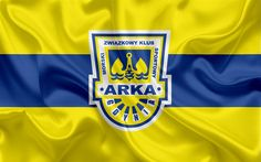 Download wallpapers Arka Gdynia FC, 4k, Polish football club, logo, emblem, Ekstraklasa, Polish football championship, silk flag, Gdynia, Poland