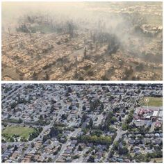 Before and after the fire 4 blocks away from my home. Please pray for everyone. #fire #sonomacounty #sonoma #santarosa #prayforsantarosa #love #hope #devastated