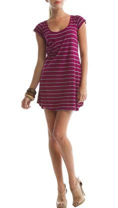 Nautical dress in magenta stripe