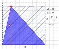 Area of a triangle Area is calculated: * base * height. In this applet area of a triangle is represented with blue color and it is ar. Math Lessons, Triangle, Coding, Base, Teaching, Education, Programming, Onderwijs, Learning
