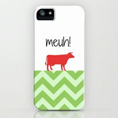 Meuh! iPhone & iPod Case #chevron,#green,#cow,#red,#humour
