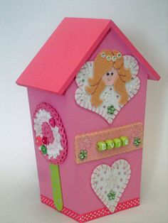 Personalised Fairy Princess House Money Box Handmade to order at www.EdenfieldsDesigns.co.uk