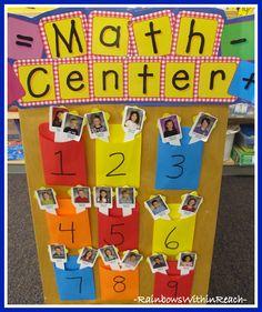 photo of: Kindergarten Math Center Assignments (child's photos on tongue depressors)