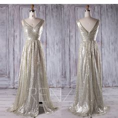 2017 Gold Silver Sequin Bridesmaid Dress Slit, V Neck Wedding Dress, A Line Evening Gown, Metallic Sparkle Ball Gown Floor Length (JQ192) by RenzRags on Etsy https://www.etsy.com/listing/498406577/2017-gold-silver-sequin-bridesmaid-dress