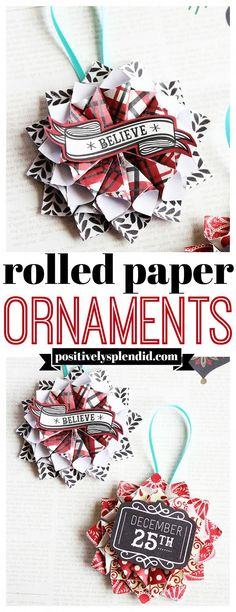 Rolled Paper Homemade Christmas Ornaments - Positively Splendid - Rolled Paper Homemade Christmas Ornaments – Positively Splendid diy paper crafts – Diy Paper C - Paper Christmas Ornaments, Christmas Crafts For Kids, Xmas Crafts, Christmas Diy, Christmas 2019, Christmas Presents, Diy Paper Crafts, Diy Christmas Paper Decorations, Handmade Christmas Crafts