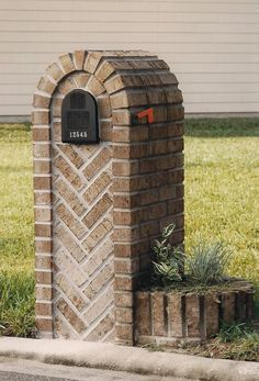 Brick Mailbox with Herringbone pattern and additional brick planter attached - Modern Mailbox Planter, Brick Planter, Home Depot Mailboxes, Custom Mailboxes, Stone Mailbox, Brick Projects, Mailbox Landscaping, Brick And Stone, Outdoor Living