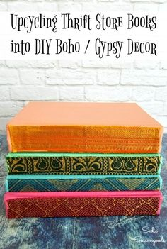 Need Some Decorative Books To Complete Your Boho Decor Look? Sadie Seasongoods Upcycled Some Vintage Books Vintage Encyclopedias Into These Fun And Exotic Books To Use As Modern Bohemian Style. Get All The Repurposing Details At . Upcycled Crafts, Upcycled Home Decor, Repurposed, Diy Home Decor, Diy Crafts, Gypsy Decor, Bohemian Decor, Bohemian Crafts, Vintage Diy