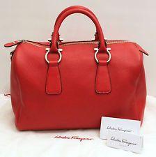 Salvatore Ferragamo Bowler Hand Bag Red Pebble Leather Silver Logo Brass Med
