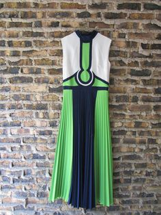 1970s High Drama Maxi Dress // Lime Green and Navy by emmevielle