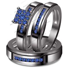 Blue Sapphire 1.00Ct Engagement Trio Ring Set 14k Black Gold Filled 925 Silver #WeddingEngagementAnniversaryBrithdayPartyGift