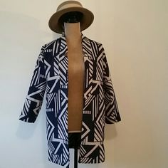NWT Gorgeous Oversized Navy Geometric Coat Navy and off white geometric pattern. Tag says XS but is an oversized look. Can fit up to a medium as well.  New with tags $59.94 Old Navy Jackets & Coats