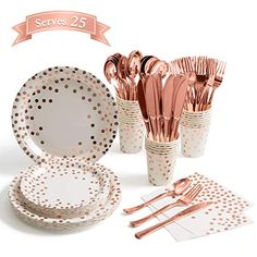 M-Aimee 175 Pieces Rose Gold Party Supplies - Rose Gold Dot on White Paper Plates and Napkins Cups Silverware Serves 25 Sets for Wedding Bridal Shower Engagement Birthday Parties White and Rose Gold 15th Birthday Party Ideas, Gold Birthday Party, 18th Birthday Party, Birthday Decorations, Rose Gold Party Decorations, 60th Birthday Ideas For Women, Birthday Celebration, Birthday Cake, Décoration Rose Gold