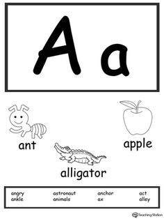 **FREE** Letter A Printable Alphabet Flash Cards for Preschoolers Worksheet.Learn the alphabet and the sound of the letters with these large picture alphabet flash cards. Help your preschooler identify the sound of the letter by looking at the pictures. Small Alphabet Letters, Alphabet Cards, Alphabet For Kids, Alphabet Worksheets, Printable Alphabet, Alphabet Activities, Preschool Worksheets, Alphabet Tracing, Arabic Alphabet