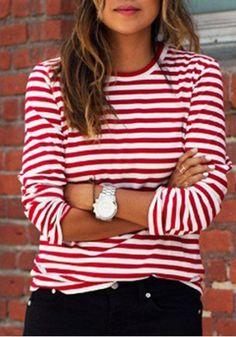Autumn Women Lady Loose Long Sleeve Casual Blouse T-Shirt Tops Fashion Striped Breton Stripes Outfit, Striped Top Outfit, Outfits With Striped Shirts, Stripe Top, Mode Outfits, Casual Outfits, Autumn Fashion Casual, Red And White Stripes, Mode Inspiration