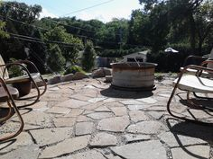 Recycled Concrete Patio - Broken up sidewalk cement patio, old tractor tire fire…