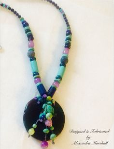 """""""Cool Waters"""" Make a summer statement with this artisan crafted necklace by Alexandra Marshall featuring Turquoise, Lapis, Blue Coral, and Purple Agates. 18"""" -21"""" long. $129. reference #N2169. To order double click on the photo."""