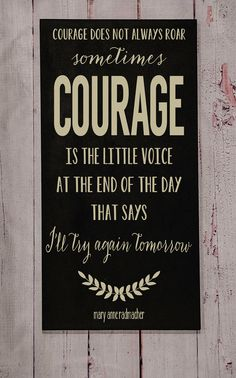 Courage Wood Sign - Your Choice of Color - Typography Word Art