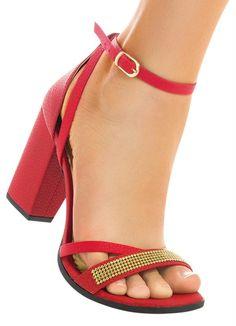 Sandália de Tiras Finas e Salto Robusto Vermelha