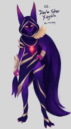 Dark Star Xayah by moniidog on DeviantArt League Of Legends Characters, Lol League Of Legends, Bambi, Xayah Lol, New Champion, Star Wallpaper, Dark Star, Mobile Legends, Character Design Inspiration