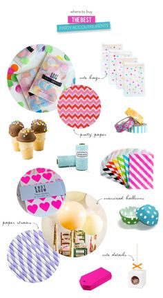 Style Me Pretty - where to buy the best party supplies! Pomtreeshop.com for pretty extra décor :)