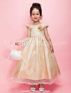A-line Tulle And Taffeta Tea-length Flower Girl Dress With Bateau - USD $ 99.99