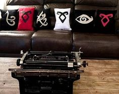 I'm trying to clear out my pillows to make room for new stock so they're on clearance and I won't be making them again, take a look!💕 I'm pulling the listings entirely the week of December 🌲🎁 The Mortal Instruments, Clary Et Jace, Ideas Habitaciones, Shadowhunters Tv Show, First Apartment Decorating, Gifts For Hunters, Black Pillows, City Of Bones, The Infernal Devices