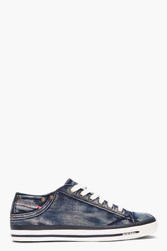 DIESEL blue Exposure Low-top denim sneakers