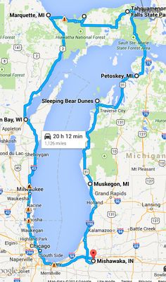 Preliminary Lake Michigan Circle Tour Route Map | Motorcycles and ...