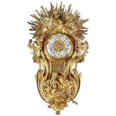 For Sale on - A large French Louis XV style gilt bronze cartel clock. After the model by Jacques Caffièri. The cartouche-shaped case representing sunrise and sunset, Antique Clocks For Sale, Antique Wall Clocks, Wall Clock Brands, Wall Clock Online, Clock Old, Bracelet Antique, Piano, Classic Clocks, Modern Clock