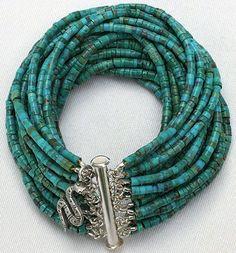 Turquoise MultiStrand Beaded Heishi Bracelet