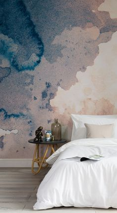 Want to wake up to this dreamy watercolour wallpaper every morning? This texture wallpaper brings showcases the effortless beauty of watercolour with a super stylish colour palette of navy and blush pink hues. Perfect for modern bedroom spaces looking for something unique.