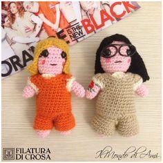 """Portachiavi Alex e Piper di """"Orange is the new black"""" realizzate con filato Zara di Filatura di Crosa #amigurumi #handmade #crochet"""