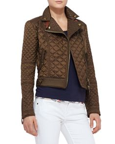 Quilted+Moto+Jacket,+Military+Khaki+by+Burberry+Brit+at+Neiman+Marcus.