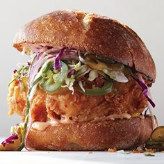 Fried Chicken Sandwich with Slaw and Spicy Mayo