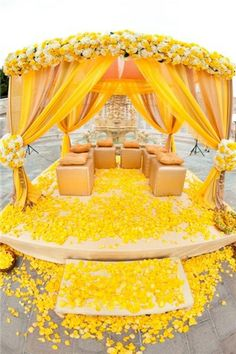 Silk Rose Petals can economically cover a large area, www.PetalGarden.com. Yellow Fantasy by Square Root Floral & Event Design