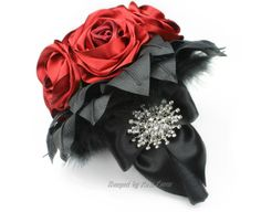Black & Red Bouquet Red Wedding Bouquet by Bouquet By Rosa Loren