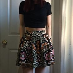 Pink Black Floral Flower Print Pleated Skirt Printed skirt, pleated, zipper with button closure at back. Mid-thigh length. Lined and has pockets. Maybe the cutest thing ever- but I have too many of these skirts! I love this too much and lowered it already- this is the lowest I will go on the skirt! H&M Skirts Mini