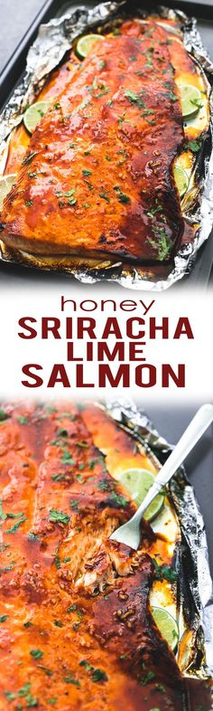 Tasty, sweet and spicy, baked honey sriracha lime salmon in foil is tender and flaky and has the most incredible flavors. A healthy and easy 30 minute meal for salmon lovers. | lecremedelacrumb.com (Baking Salmon In Foil)