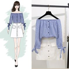 お進めコーデスクエアボートネック肩出すリボン飾りシャツ シンプルスカートセットアップ Ulzzang Fashion, Kpop Fashion, Cute Fashion, Asian Fashion, Fashion Models, Fashion Drawing Dresses, Fashion Illustration Dresses, Fashion Dresses, Girls Fashion Clothes