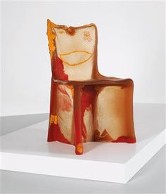 """Pratt Chair"", designed by Gaetano Pesce *,  1984, translucent polyurethane, stamped: 'NEW YORK/1984', height 93 cm, width 53 cm, depth 53 cm, seat height 51 cm. (MHA) This chair is from a series made of various material rigidities and colors, marked: ""7"" (material rigidity)."