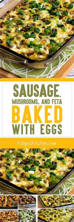 Sausage, Mushrooms, and Feta Baked with Eggs found on KalynsKitchen.com