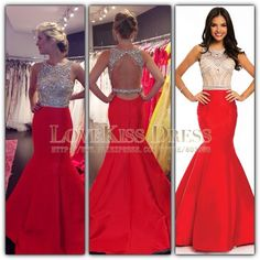 Crystal Beading Mermaid Prom Dress Sleeveless Open Back Long Evening Dress Red Satin Vestido De Festa 2015